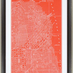 Paragon Decor - Map of San Francisco Artwork - Map is matted in white and framed in dark wood finish molding with antique silver edge.