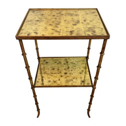 Pre-owned Vintage Mirrored Side Table - This amazing table is from France, circa 1950. It was purchased by the seller at the Paris flea market. We're swooning over the faux bamboo Regency style legs and mirrored tiles! Just imagine at orchid on the top shelf, and a stack of antique books on the lower shelf - très chic!