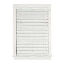 Achim - Madera Falsa 2-Inch Faux Wood Blind - Made from cellular foam artificial wood. Supported by steel headrail. Looks and feels like wood. Unlike Wood, Resists Warping, Moisture, Sun Damage, Insect Damage. Installation harware included. Easy to Clean.