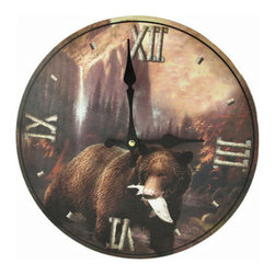 Grizzly Bear Wall Clock 12 In. - This wooden wall clock features a grizzly bear with its catch of the day, with beautiful forest scenery in the background. It measures 12 inches in diameter and has large white Roman numerals and black hands to mark the time. The clock features quartz movement and runs on 1 AA battery (not included). It is a wonderful addition to country cabins, or any room in the house.