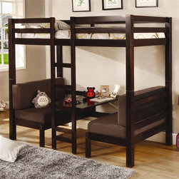 Coaster - Twin Over Twin Convertible Loft Bed - Mattress not included. Twin over twin bed. Brown Finish. Made from solid hardwoods. 81.5 in. L x 42.63 in. W x 72 in. H. Central ladder. Bottom bed weight capacity: 150 lbs.. Casual style. Sturdy straight rails. Padded seats and table surface. Padded benches easily convert to a twin size sleeping area. Top bunk weight capacity: 125 lbs.. Warranty. Bunk Bed Warning. Please read before purchase.. NOTE: ivgStores DOES NOT offer assembly on loft beds or bunk bedsCreate a fun and usable space in your youth bedroom with this unique convertible loft bed.