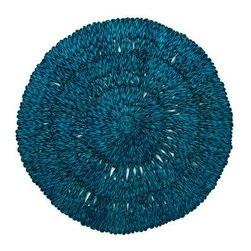 Straw Loop Placemat - This placemat has great texture, and the rich peacock color is fabulous. It's a perfect backdrop for your outdoor tableware.
