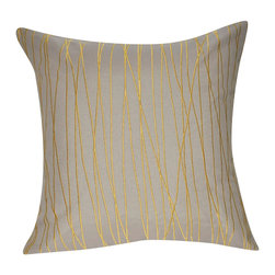 """Loom and Mill - Loom and Mill P0173-2121P 21"""" x 21"""" Dark Tan Branch Decorative Pillow - A fun twist on stripes, this embroidered decorative pillow is not only a durable and elegant addition to your home, but excellent for mixing and matching. Spot clean only."""