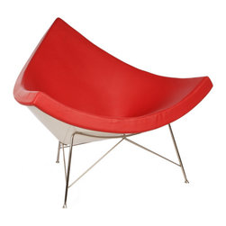 "IFN Modern - Coconut Chair Reproduction-Red - 100% Italian Leather - The design of the Coconut Chair was created by  George Nelson and his inspiration for this chair comes from a coconut shell itself. George Nelson is considered to be one of the founders of mid century modern design- he was known for designing furnishings which contained elements of the natural world. This chair features the form of a cut-off section from a coconut and it designed with the intention of both aesthetic strikingness as well as comfort. This chair is analogous with the Minimalist movement that existed in the 1950's and it was first designed in the year 1955. This chair is beyond a piece of conversation- it is perfect for relaxation- whether one is looking to relax at a home, office, or a lounge setting.  Overall Dimensions: 38.6"" H x 43.3"" W x 31.1"" Dâ— Available in 100% Full Grain Italian Leather & 100% Full Grain Aniline Leather â— Variety of colors availableâ— Sturdy fiberglass shellâ— Thick padded leather cushioningâ— Stainless steel legsâ— Stainless steel ensures durability, resistant to corrosion and is easy to cleanâ— 5 Year warranty"