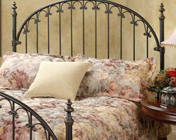 "Hillsdale - Kirkwell Headboard - The Kirkwell Headboard by Hillsdale House is a classic style featuring a traditional arch design with straight spindles that are connected by decorative solid castings. Featuring a brushed finish, the copper base coat is antiqued by a rich deep brown top coat. The headboard also boasts heavy guage round tubing, solid wire, and aluminum castings. The Kirkwell Headboard is an elegant addition to any bed, and is reminiscent of an antique iron gate. Features: -2 Holes to screw in to standard headboard frame (hardware not included).-Fully welded construction.-Brushed bronze finish.-Kirkwell collection.-Recommended care: Dust frequently using a clean, specially treated dusting cloth that will attract and hold dust particles. Do not use liquid or abrasive cleaners as they may damage the finish.-Distressed: Yes.Dimensions: -Overall Height - Top to Bottom (Size: Full / Queen, King): 59"".-Overall Width - Side to Side (Size: Full / Queen): 62.5"".-Overall Width - Side to Side (Size: King): 78.25"".-Overall Depth - Front to Back (Size: Full / Queen, King): 2.625""."