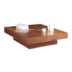 White Line Imports - Abby Square Coffee Table - Bring this Asian styled, unique coffe table in Walnut Venner finish to add a new accent of Eastern culture to your living room. This warm square shaped Abby Square Coffee Table will nicely blend with any styled decor.