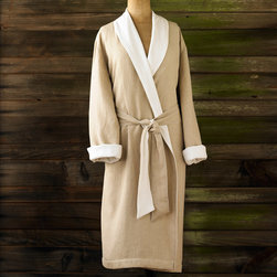 Coyuchi - Coyuchi Linen with Terry Robe - This sumptuous Coyuchi robe lines soft linen with cotton terry for an irresistible combination. Classic in white and beige, the wrap features a kimono collar for sophisticated style. Available in XS/S (32-36), S/M (38-42), M/L (44-46) and L/XL (48-50); Unisex; Organic materials; Falls below knee; Machine washable
