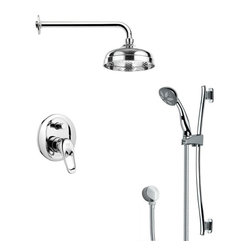 Remer - Modern Chrome Round Rain Shower Faucet Set - Single function shower faucet.