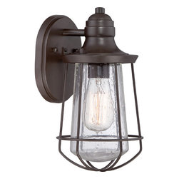 Quoizel - Marine Western Bronze One Light Clear Seedy Outdoor Wall Fixture - - Bulb Included  - Install Position: Downwards  - Cord Length: 6 Inches  - Glass/Shade: Clear Seedy Quoizel - MRE8406WT