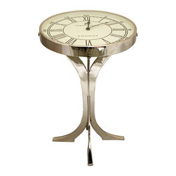 ecWorld - 49 Bond Street London Metal Round Pedestal Clock Coffee and End Table - Although this innovative clock coffee table helps you keep track of the time, its elegant design is timeless. Interesting and bold, this accent table features a motorized clock beneath glass and four elegantly designed strong and sturdy metal legs.