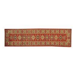1800-Get-A-Rug - Red Super Kazak Oriental Rug Runner Tribal 100% Wool Hand Knotted Sh16560 - Our Tribal & Geometric hand knotted rug collection, consists of classic rugs woven with geometric patterns based on traditional tribal motifs. You will find Kazak rugs and flat-woven Kilims with centuries-old classic Turkish, Persian, Caucasian and Armenian patterns. The collection also includes the antique, finely-woven Serapi Heriz, the Mamluk Afghan, and the traditional village Persian rug.