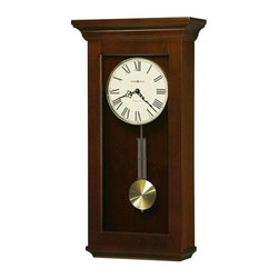 Howard Miller - Continental Wall Clock in Cherry Bordeaux - Finished in Cherry Bordeaux on select Hardwoods and Veneers, this wall clock features a flat top pediment. Circular brushed Brass-finished pendulum bob with a Brass finished grid. Lamb's wool dial with Black Roman numerals, a Brass-finished bezel, Black spade hour and minute hands, and plain Glass. Quartz, single-chime movement plays Westminster, strikes on the hour, and features automatic nighttime chime shut-off option. Requires 4 AA batteries, not included. 13 in. W x 5 1/2 in. D x 24 1/2 in. H