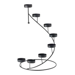 """Koehler Home Decor - Koehler Home Decor Metal Spiral Candle Holder - Metal candle holder crowns any tabletop with a shimmering spiral of golden light. Cradles eight tea light votive candles in breathtaking display. Black matte finish. Display alone or circle around a vase of fresh flowers for an elegant centerpiece. Metal. Tea lights not included. 9.87"""" diameter x 1"""" length x 15"""" high.Material: Metal. Size: 9.87"""" diameter x 1"""" length x 15"""" high."""