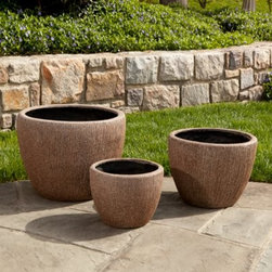 Alfresco Home Graffiato Round Planter - The simple lines of the Alfresco Home Graffiato Round Planter let your blooms take center stage in all their glory, even as its smart design adds a dash of contemporary charm to your setting. A beautiful, hand-applied Earthstone patina finish gives each planter a unique character, ensuring no two planters are exactly alike. It's normal for the color to change over time due to UV rays and general weathering of the patina. Fiberglass, combined with resin and other composite materials, make this a highly durable, yet lightweight planter that will offer years of enjoyment.Dimensions:Large Planter: 19.5L x 19.5W x 15.5H inchesMedium Planter: 15.5L x 15.5W x 12.5H inchesSmall Planter: 12.5L x 12.5W x 9.5H inchesAbout Alfresco HomeOffering a wide selection of fashionable products, from casual furniture and garden lighting to permanent botanicals and seasonal decor, Alfresco Home casual living products offer a complete line of interior and exterior living furnishings and accents. Based out of King of Prussia, Penn., Alfresco Home continues to blend indoor and outdoor furniture to create a lifestyle of alfresco living inside and outside of the home. Inlaid mosaic tabletops, fine hardwood furnishings, artisan-inspired accents, premium silk botanicals, and all-weather wicker sets are just a few examples of the kind of treasures you'll find in Alfresco's specially designed collections.Please note this product does not ship to Pennsylvania.
