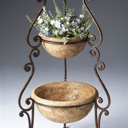 Butler - Planter in Metalworks - Wood products and finished Metal. Cast stone bowls suitable for planting. Metalworks finish. 20.5 in. Dia. x 42 in. H (63 lbs.)