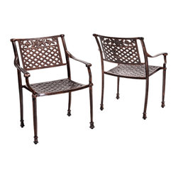 Great Deal Furniture - Sierra Outdoor Cast Aluminum Dining Chairs (Set of 2) - The Sierra outdoor dining chair will bring luxury and convenience to your outdoor space. Made from cast aluminum, these durable high quality chairs feature intricate design on the backrest and seat rest. The antique shiny copper finish is neutral to match any outdoor furniture and will hold up in any weather condition. Whether in your backyard, patio, deck or even your restaurant outdoor dining space, you'll enjoy these chairs for years to come.