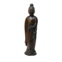 Golden Lotus - Chinese Boxwood Carved Standing Kwan Yin Statue - This Chinese a Kwan Yin statue is carved from a solid dense natural wood which has natural brown color. The statue was collected from a closed out collectible store in Beijing.