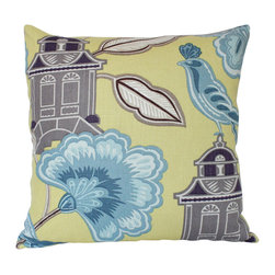 The Pillow Studio - Designer Yellow Chinoiserie Pillow Cover with Antique Velvet Backing - This is such a fun pillow! The yellow is so bold and I love the contrast of it and the blue. The antique velvet in pewter coordinates perfectly with the front fabric and is so luxurious!
