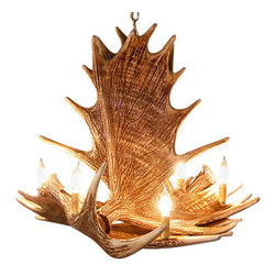 Muskoka Lifestyle Products - Rustic Moose 4 Antler Chandelier- with 6 Candle Lights - Our Rustic Moose 4 Antler Chandelier is the best faux antler chandelier available on the market. We have taken our replication process from our other rustic decor items and matched the authentic finish. Real antlers are used to model the reproduction for an exact and comparable result. The process to create the antler chandelier, uses a time proven cast resin system to ensure perfection in every piece. We have hand-stained and antiqued each antler to achieve the exact comparable match to the real antler. Bring the perfect rustic decor to your home, cabin, or office with these antler chandelier reproductions. All antler chandeliers are UL listed to ensure absolute safety, quality, and US building code parameters are met.
