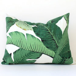 Green Floral Decorative Designer Lumbar Pillow by Whitlock & Co.