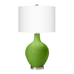 "Color Plus - Contemporary Rosemary Green Ovo Table Lamp - Welcome exquisite color and design to your home decor with this Color + Plus™ glass table lamp. The design is hand-crafted by experienced artisans in our California workshops with a Rosemary Green designer high-gloss finish. The look is topped with a stylish white linen drum shade and punctuated with contemporary brushed steel finish accents. Rosemary Green designer color glass table lamp. White linen drum shade. Brushed steel finish accents. Takes one 150 watt or equivalent bulb (not included). 28 1/2"" high. Shade is 16"" wide 11"" high. Base is 6"" wide.  Rosemary Green designer glass table lamp.  White linen drum shade.  Brushed steel finish accents.  Takes one maximum 150 watt or equivalent bulb (not included).  28 1/2"" high.  Shade is 16"" wide 11"" high.  Base is 6"" wide."
