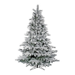 Flocked Aspen Christmas Tree - The Vickerman G115590 Flocked Aspen artificial Christmas tree is made of finely textured, classic PVC tips. This time-honored, classic material creates a lower-priced tree that is still more realistic than most. Destined to grace your home for many years to come, the setup of this beautiful 12 foot tree is surprisingly easy with its attached hinged branches and sturdy stand.