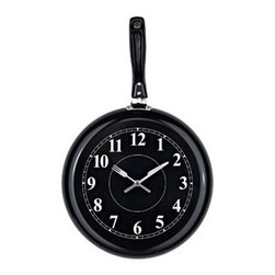 """LexMod - Pan Wall Clock in Black - Pan Wall Clock in Black - Sizzle up some tantalizing recipes with this affectionately quirky pan clock. Overturn the everyday as you blend in portions of contradiction and mystery. Augment your understanding of the potentials of time while simultaneously peppering it with greater fuel and vitality. Set Includes: One - Pan Shaped Wall Clock Stainless Steel, Quartz Analog, Uses AA battery (sold separately) Overall Product Dimensions: 2""""L x 18""""W x 12""""H - Mid Century Modern Furniture."""