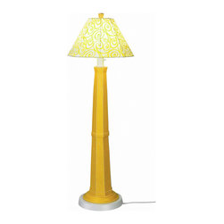 Patio Living Concepts - Patio Living Concepts Nantucket 60 Inch Floor Lamp w/ Lemon Mimosa Base & Yellow - 60 Inch Floor Lamp w/ Lemon Mimosa Base & Yellow Swirl Shade belongs to Nantucket Collection by Patio Living Concepts Distressed lemon mimosa resin lamp base highlights this stylish outdoor lamp. Two level dimming switch and 12' weatherproof cord and plug. Unbreakable polycarbonate waterproof bulb enclosure allows the use of a standard 100 watt light bulb. Lamp (1)