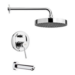 Remer - Polished Chrome Contemporary Rain Shower System - Single function tub and shower faucet.