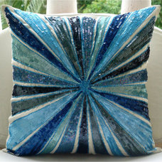 Aqua Illusion Throw Pillow Covers 16x16 Inches by TheHomeCentric