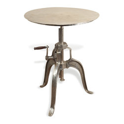 Kathy Kuo Home - Savio Round Metal Industrial Crank Small Dining Center Table - The innovative design of this antique nickel table gives you maximum versatility - a hand crank on its sturdy industrial base allows you to raise and lower the table height.  With a shape that echoes rustic factory work stools and a contrasting sleek, polished tabletop, this piece will look great in any modern home or rustic loft.