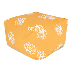 Majestic Home - Outdoor Yellow Coral Large Ottoman - Stylish and so versatile, this beanbag-done-better works as a footstool, coffee table or comfy seat in your favorite setting — indoors or out. Dosed for durability with UV-protected fabric, the slipcover also zips off so you can toss it in the wash.