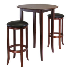 Winsome - Winsome Fiona 3 Piece Round Pub Dining Set in Antique Walnut Finish - Winsome - Pub Sets - 94381 - Refined details and casual elegance best describe this pub-style table with slightly flared legs. With a deep rich walnut finish the round table is an ideal size for a cozy dinner working on your laptop or playing a game of cards. This versatile set will look stunning in your kitchen breakfast area or family room.