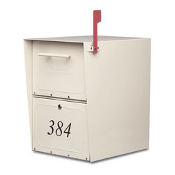 Architectural Mailboxes - Oasis Locking Post Mount Mailbox Sand - Homeland security doesn't have to involve anyone other than yourself and a couple of keys. This locking mailbox has an extra large, hopper style door with rubber seals that keeps your mail safe and dry … and your sense of security intact.