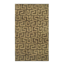 Safavieh - Brown & Gold Greek Key Rug (6 ft. Round) - Size: 6 ft. Round. Ancient inspiration gives this Greek key design area rug a deserved spot in your home decor. It features soft, hand tufted wool for exceptional underfoot feel, along with stylish brown and gold tone highlights. Color may vary slightly. Hand Tufted. Wool and Viscose. Made in IndiaThe Soho Collection is Safavieh's response to market demand for clean, transitional design in rugs that work equally well in traditional and contemporary homes. The collection's unique purity and clarity of the color is achieved by selecting only the purest premium New Zealand wool as a canvas for Safavieh's exciting new color palette. Many of the designs in the Soho collection are accented with viscose for silky softness to outline patterns, and further highlight the softness of the wool. This innovative collection is hand-tufted in India.