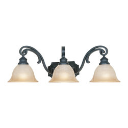 Designers Fountain - Designers Fountain Barcelona Traditional Vanity / Bathroom Light X-IN-30169 - This Designers Fountain bathroom light from the Barcelona Collection features beautiful European influencing and elegant scrollwork. This traditional bathroom light has been finished in Natural Iron and comes with three ochere glass diffusers that create warm, flattering light.
