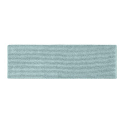 None - Xavier Stripe Sea Foam 22 x 60 Bath Runner - Enjoy the plush feel of the Xavier Stripe bath and spa collection, while adding a classic note of design and color. This long aqua blue rug is created from durable, machine-washable nylon with non-skid latex backing for safety.