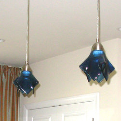 Blue art glass pendant lights by Uneek Glass Fusions - Steel blue art glass medium pendant lights by Uneek Glass Fusions. http://uneekglassfusions.com