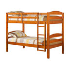 Walker Edison - Walker Edison Twin/Twin Solid Wood Bunk Bed in Honey - Walker Edison - Bunk Beds - BWSTOTHY - Crafted from beautiful solid wood this contemporary bunk bed is functional sturdy and exceptionally stylish. Full length guardrails and an integrated ladder designed with safety in mind. A great solution for any space-saving needs this bunk bed easily converts into two individual beds for versatility. This stunning solid construction is sure to please any growing family.