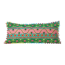 Bohemian Spring Throw Pillow - Beautiful embroidery in bold colors and patterns lights up the fabric of this fun, daring pillow. Down to its multicolored pompom trim, it's a perfect boho-glam addition to an eclectic armchair, bed, or couch.