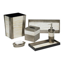 Belle & June - Mother of Pearl Espresso Bath Set - MOMA is alive and well and living in your bathroom. Admire the clean, sculpted lines and the detailed craftsmanship of this bath set. Each set takes 100 days to create and the mother of pearl paired with the gold leaf finish is exquisite. Food friendly, feel free to press the trays into service in the dining room.