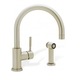 Blanco BLANCOMERIDIAN Single Lever Kitchen Faucet With Metal Side Spray 440009 - Experience the classic design of this sleek, pillar style faucet. With its shepherd's crook spout, slender single-lever handle and solid brass side spray, this timeless style is the ideal complement to any kitchen décor.