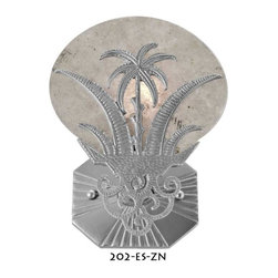 Art Deco Moonlight Palm Tree Wall Sconce - Isn't this fun.   We designed this fixture for a restaurant in Florida.  It comes from an actual antique sconce and changes were made to allow it to be UL approved.   Just kinda neat. See the Sunset sconce, 202-ES for a daytime theme to this sconce.