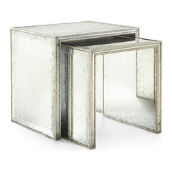 Kathy Kuo Home - Jasmine Hollywood Regency Silver Leaf Mirror Nesting Side End Table - Set of 2 - This table is so lovely, it had to happen twice.  This pair of nesting tables are so spare in line, there's no question of their modernity. Finished in silver leaf Eglomise mirror, there's no space that these two beautiful nesting tables won't light up.