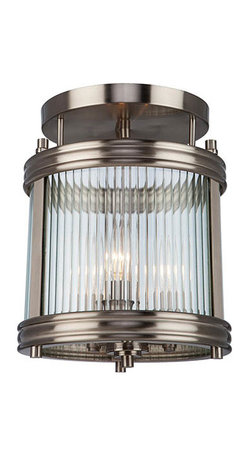 Artcraft - Bankroft Brushed Nickel Three-Light 10.25-Inch Wide Semi-Flush - - The Bankroft Collection of lanterns is plated in brushed nickel and features ribbed glassware. Semi flush mount model Artcraft - AC10281