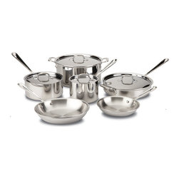All-Clad - All-Clad Stainless Steel 10-Pc Cookware Set - Includes: