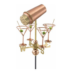 G.D. - Good Directions Martini with Glasses Garden Weathervane - Polished Copper w/Gard - Our maintenance-free Garden Weathervanes combine classic design with high-quality craftsmanship.