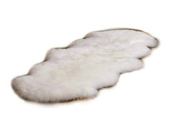 Fur Accents - Fur Accents Pelt Rug / Faux Fur Double Sheepskin / Unique Designer Quality, 2x4 - A Truly Warm and Cozy Fur Accent Throw Rug. Rich Shaggy Off White Faux Sheepskin Pelt Area Carpet. Double Sheep Design. Made from 100% Animal Free and Eco Friendly Fibers. Perfect for any room in the house. Try it in the Winter Lodge, Log Cabin or Family Great Room. Quality Construction, Artistic Design and Tastefully lined with real Parchment Ultra Suede. Luxury, Quality and Unique Style for the discriminating Designer/ Decorator.