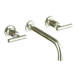 "KOHLER - KOHLER K-T14414-4-SN Purist Two-Handle Wall-Mount Lavatory Faucet Trim - KOHLER K-T14414-4-SN Purist Two-Handle Wall-Mount Lavatory Faucet Trim with 9"" Spout and Lever Handles in Polished Nickel"
