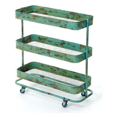 Lab Cart - Rectangular shelving with rounded corners sit resolutely on an iron frame that rolls to and fro. Urban chic and hand painted and distressed.